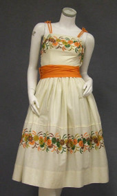 Cream Cotton 1950's Sun Dress w/ Floral Embroidery & Orange Trim