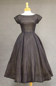 Navy Blue Dotted Swiss 1950's Dress w/ Button Back