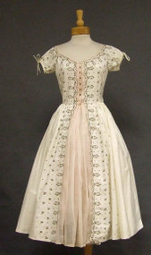 Carlye Cotton & Organdy 1950's Dress w/ Embroidery