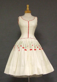 GORGEOUS Ivory Eyelet 1950's Dress w/ Red Embroidery