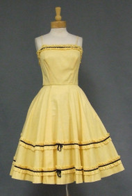 Striking Yellow Gingham 1950's Sun Dress w/ Black Velvet Trim