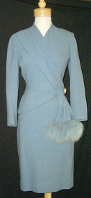 Lilli Ann Asymmetrical Suit w/ Blue Fox Trim