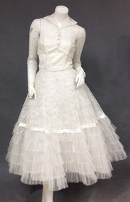 Feminine Ivory Lace & Tulle 1950's Strapless Wedding Dress w/ Cropped Jacket