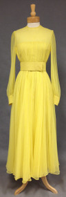 Edward Parnes Sunny Yellow Chiffon 1970's Evening Gown