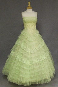 Fabulous Celadon Green Nylon Lace & Tulle 1960's Bridesmaid Gown
