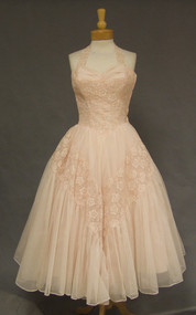 Exquisite Will Steinman Pink 1950's Halter Cocktail Dress