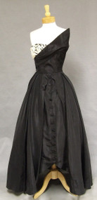 ASTOUNDING Asymmetrical Black Taffeta 1950's Ball Gown
