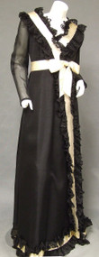 Sarmi Black & Cream Victorian-esque Gown w/ Lace & Satin