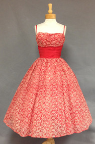 STRIKING Flocked Red & White Nylon 1950's Cocktail Dress w/ FULL Skirt