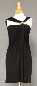 FABULOUS Black Jersey 1980's Anne Klein Bergdorf Goodman Grecian Vintage Cocktail Dress