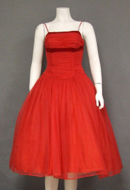 Floating Red Chiffon Vintage 1950's Holiday Cocktail Prom Dress w/ Velvet Trim