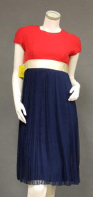 FABULOUS Unworn Sarmi Red, White & Blue Chiffon 1960's Cocktail Dress