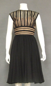 OUTSTANDING Black Silk Chiffon & Striped Tulle 1960's Cocktail Dress