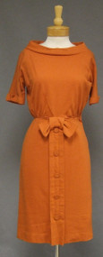 Chic Minx Modes Pumpkin Wool Knit 1950's 1960's Day Dress