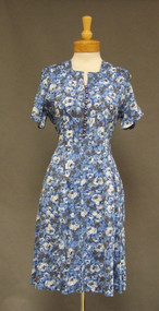 Blue Floral Nylon 1950's 1960's Day Dress Rhinestone Buttons