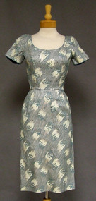 AMAZING Rhinestone Studded Painted Canvas 1950's Wiggle Dress