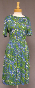Blue & Green Nylon 1960's 60s Shelton Stroller Dress Asymmetrical Buttons