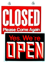 """14.25"""" x 19"""" Uneaque Series Open-Closed Window Sign with Suction Cups - FREE SHIPPING"""