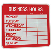 """9.5"""" x 10.5"""" Uneaque Series Business Hours Window Decal with Pre-Cut Numbers - FREE SHIPPING"""