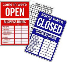 """9.5"""" x 14"""" Uneaque Series Open-Closed - Business Hours Window Sign with Stick On Letters and Suction Cups - FREE SHIPPING"""