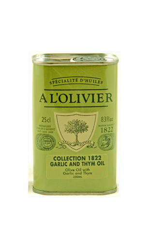 A L'Olivier garlic and thyme flavored and infused olive oil