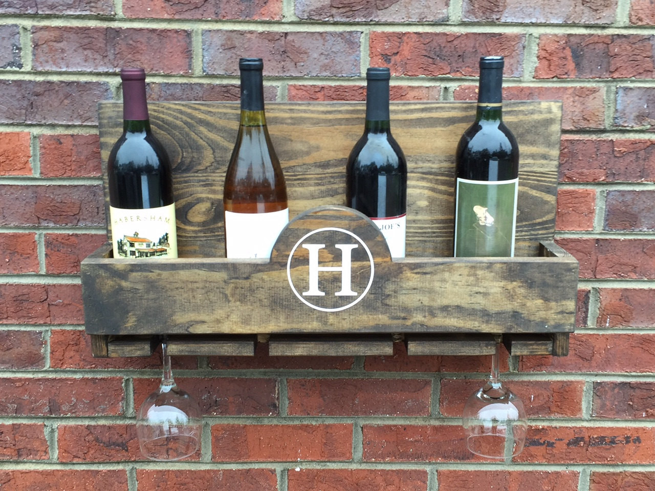 Personalized Wine Bottle Holder And Glass Rack West