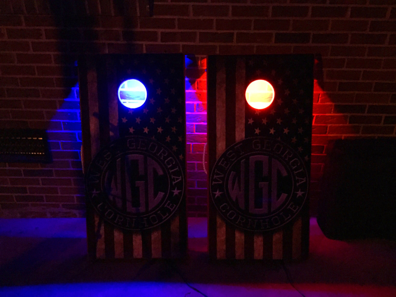 battery operated color changing led cornhole hole light set with