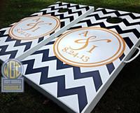 Custom Chevron Cornhole Board Set