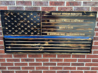 Blue Lives Matter CUSTOM Engraved Wooden American Flag