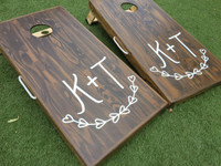 Solid Pine Monogram Cornhole Board Set