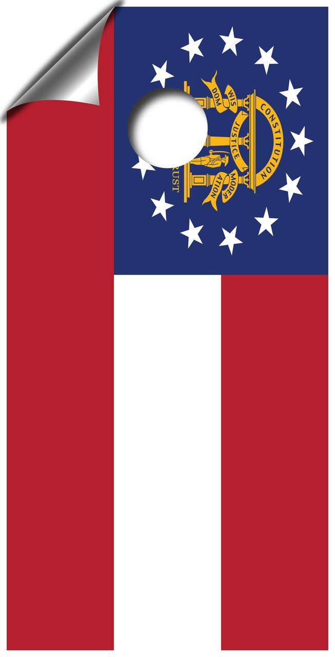 Georgia State Flag Cornhole Board Wrap