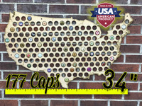 "34"" USA Beer Cap Map"