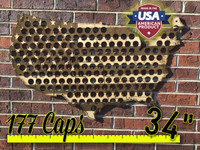 "34"" Stained Flag United States of America Beer Cap Map"