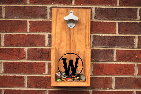 Custom Rustic Wall Hanging Bottle Opener Golden Oak
