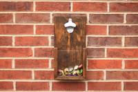 Custom Rustic Wall Hanging Bottle Opener: Dark Walnut Stain