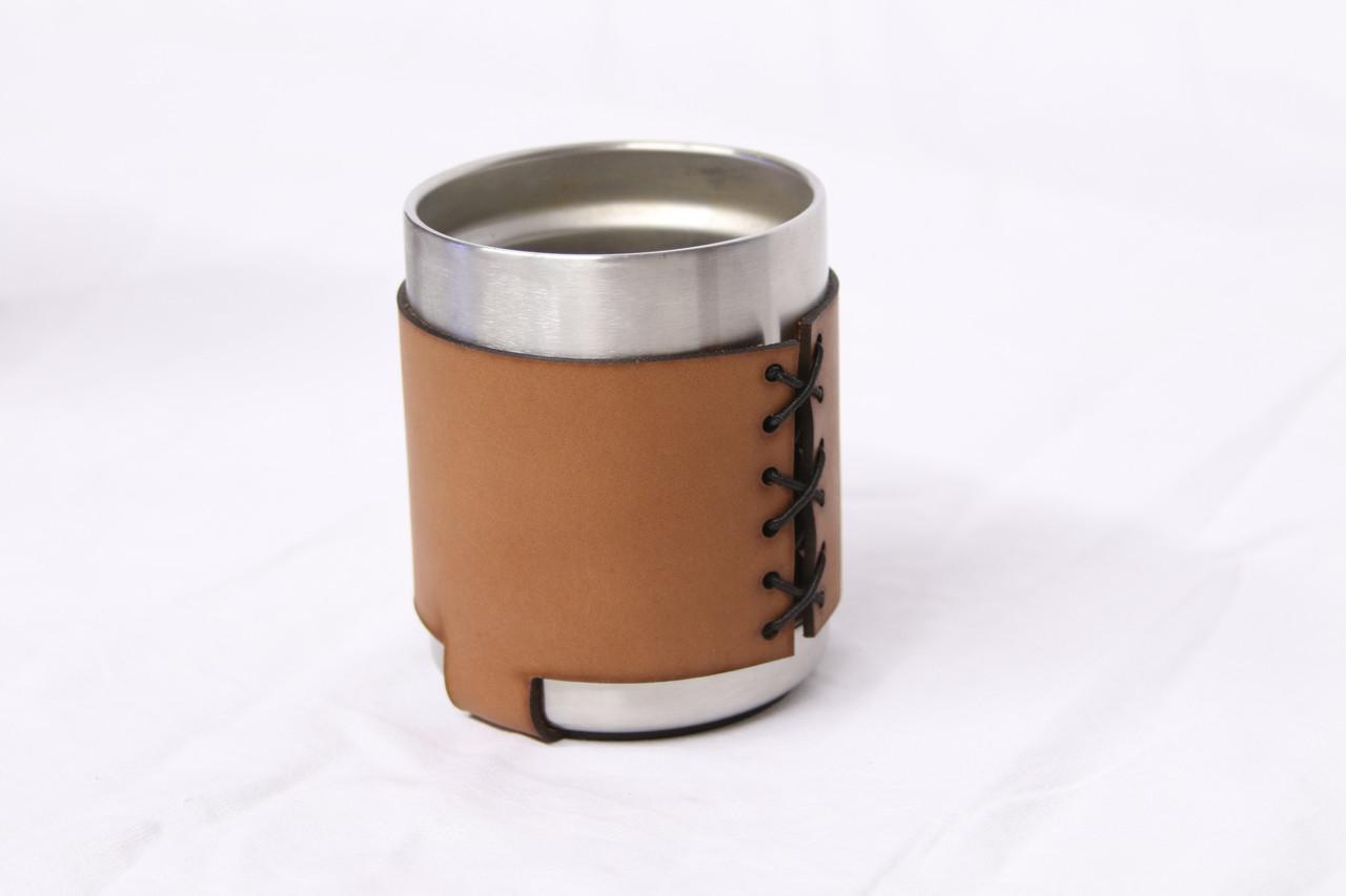 Stainless Steel Rambler Leather Koozie