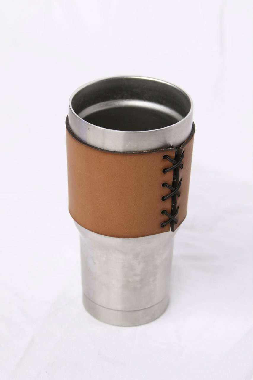 20oz Stainless Steel Tumbler Leather Koozie