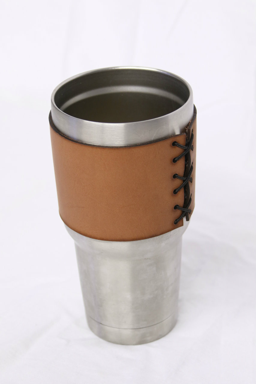 30oz Stainless Steel Leather Tumbler Koozie