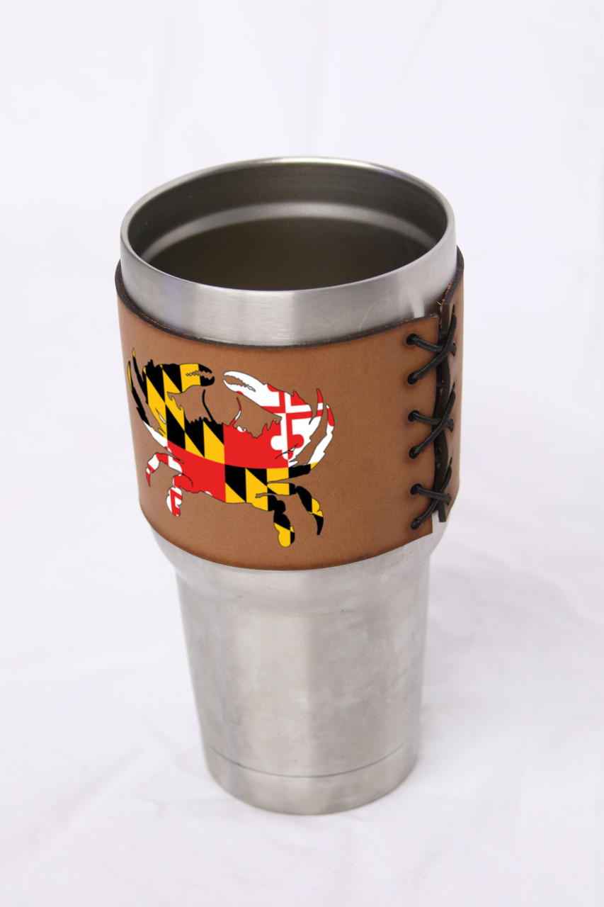 Custom 30oz Stainless Steel Leather Tumbler Koozie