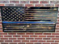 Blue Lives Matter Burned Wooden American Flag
