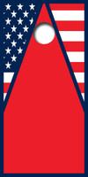 American Flag Triangle Design Cornhole Board Wrap Set LAMINATED