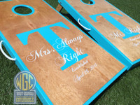 """Mr and Mrs Right"" Cornhole Board Set"