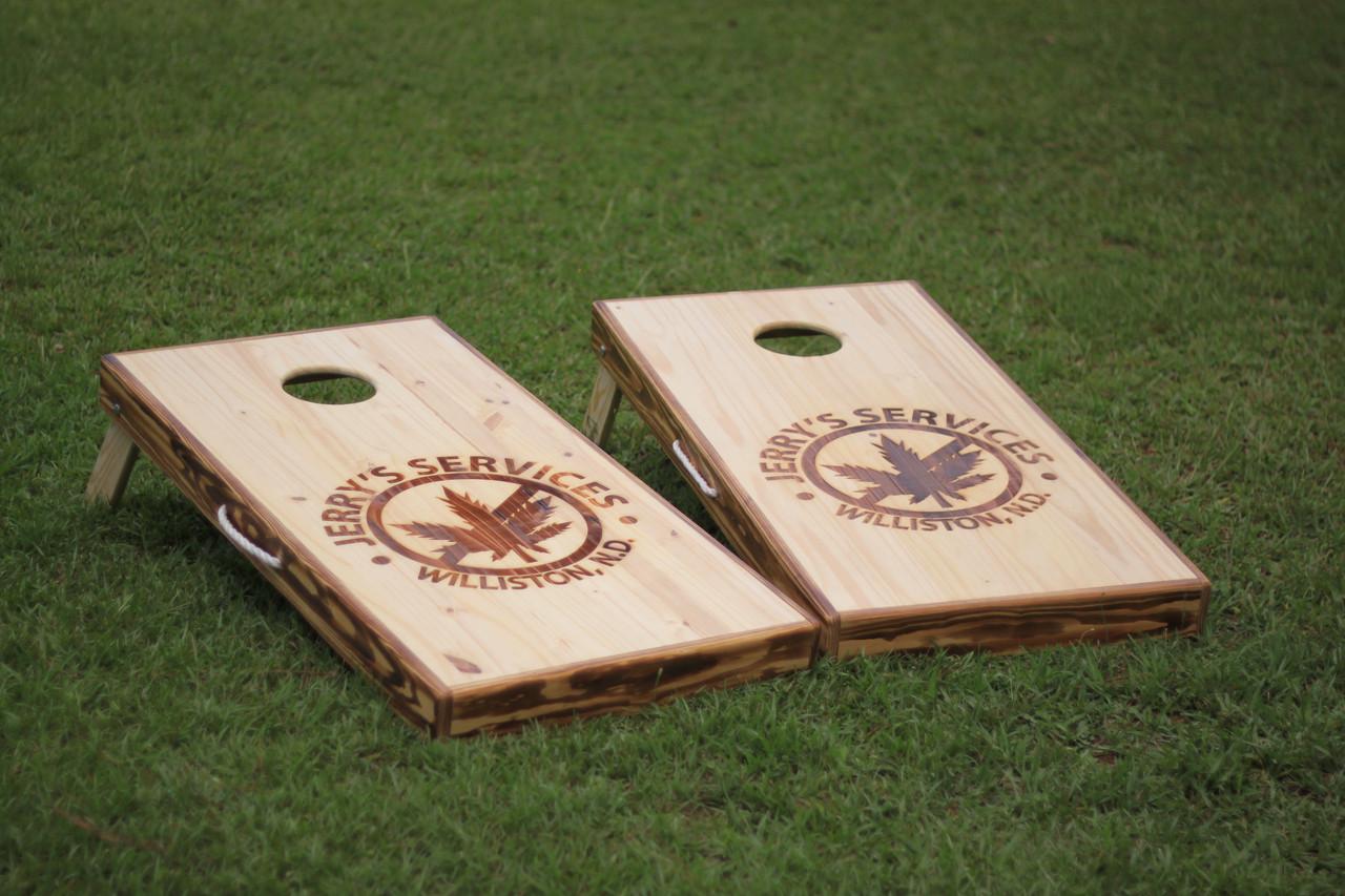 Burner And Laser Engraved Custom Cornhole Boards West