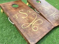 Solid Stain Monogram Custom Cornhole Boards