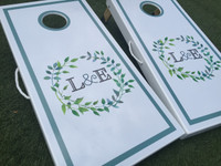 Wreath Monogram Custom Cornhole Boards