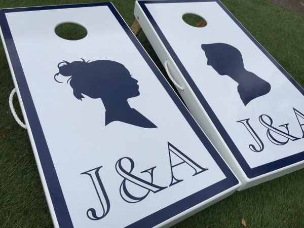 silhouette monogram custom cornhole boards