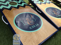 Chevron Circle Monogram Custom Cornhole Boards