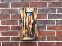 Custom Rustic Wall Hanging Bottle Opener: Burned Wood