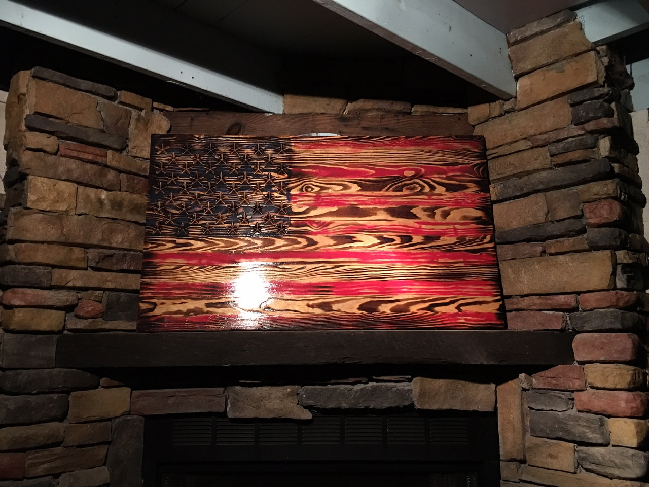 Rustic Engraved Wooded American Flag