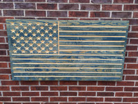 Worn Navy Engraved American Flag